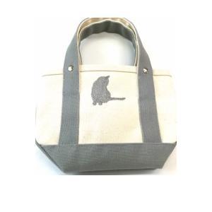 帆布トートバックS 倉敷産帆布8号ミニトート 猫振返り刺繍|momo-tail