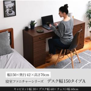 デスク 幅150 奥行40 両側チェスト 引き出し 収納 チェスト 幅60 キャビネット ホテル 木製 寝室 リビング|momoda