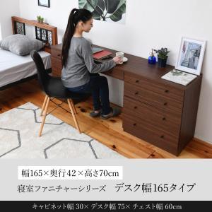 デスク 幅165 奥行40 引き出し 収納 チェスト 幅60 キャビネット ホテル 木製 寝室 リビング|momoda