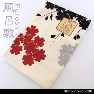 大きい 風呂敷 ふろしき シャンタン綿 日本製 オフホワイト 赤 黒 桜 和柄 三巾