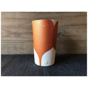 にざまつオリジナル 常滑焼 タンブラー 橙うちわ 陶器 ビアタンブラー カップ ギフト|momonozakkaten