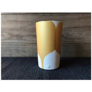 にざまつオリジナル 常滑焼 タンブラー 金うちわ 陶器 ビアタンブラー カップ ギフト|momonozakkaten