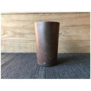 にざまつオリジナル 常滑焼 タンブラー 黒茶(ブラウン) 陶器 ビアタンブラー カップ ギフト|momonozakkaten
