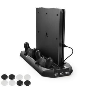 新型PS4スリム ps4 両用 縦置きスタンド PECHAM ファン付 コントローラ2台充電 USB...