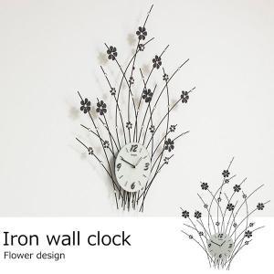 アイアン壁掛け時計 ウォールクロック フラワークロック|momu