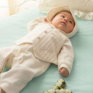 プリンスセレモニーセット お帽子 兼用ドレスベスト3点セット。赤ちゃんの肌に優しいオーガニックコット...