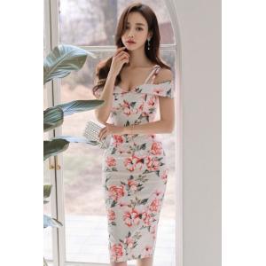 ワンピース 花柄 フラワーワンピース 白 ピンク フラワーワンピ 大きいサイズ 春 夏 かわいい ふんわり 結婚式 きれいめ|monacofashion
