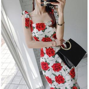 花柄ワンピース フラワーワンピース マーメイド スレンダーライン 20代 30代 40代 パーティドレス セクシー 白|monacofashion