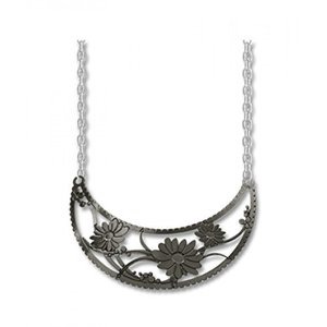 アクセサリー Adajio by Sienna Sky Dark Gray Daisies Crescent Necklace N7500 並行輸入品