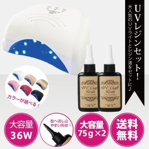 【送料無料】ジェルネイル・クラフトレジン Powerful UV+LED 36W 2in1 人感センサー付き UV/LED兼用ライト+レジン液 75g(2本)|moncheri-nail