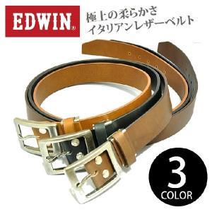 ベルト メンズ ブランド カジュアル EDWIN(エドウィン) 35mm レザーベルト 本革 革 イタリアンレザー|moncrest