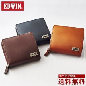 財布 メンズ 短財布 ブランド EDWIN エドウイン/二つ折り ラウンドファスナー/|moncrest