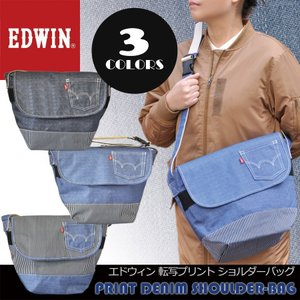 EDWIN エドウィン 斜め掛け ショルダーバッグ かばん デニム風転写プリント 0411270 湿気に強く軽い ポリエステル生地 BAG メッセンジャーバッグ たすき掛け|moncrest