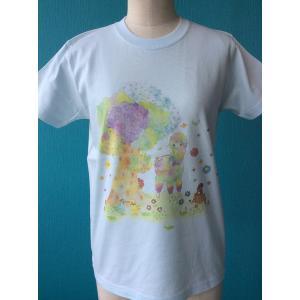 プリントTシャツ アルパカとラブ鳥 モンゴベス ブルー 半袖Tシャツ レディース アルパカ  MONGOBESS|mongobesswith