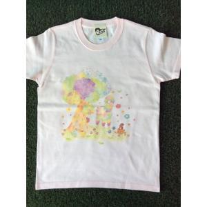 プリントTシャツ アルパカとラブ鳥 モンゴベス ピンク 半袖Tシャツ レディース アルパカ  MONGOBESS|mongobesswith
