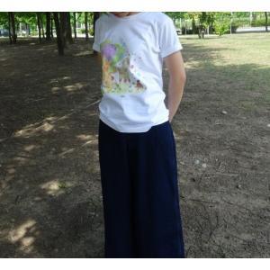 プリントTシャツ アルパカとラブ鳥 ホワイト 半袖Tシャツ レディース アルパカ  MONGOBESS|mongobesswith