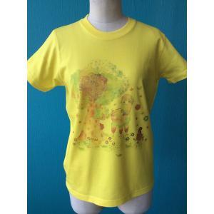 プリントTシャツ アルパカとラブ鳥 モンゴベス イエロー 半袖Tシャツ レディース アルパカ  MONGOBESS|mongobesswith
