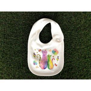 オーガニックコットン 花ネコ モンゴベス スタイ 赤ちゃん用 よだれかけ bib 猫柄 ねこ 出産祝い お誕生日 プレゼント ラッピング無料 MONGOBESS|mongobesswith