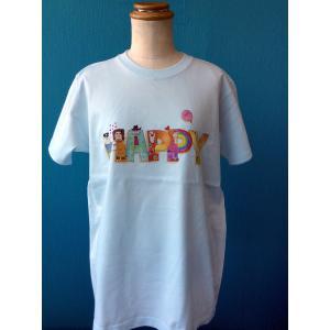 プリントTシャツ HAPPY モンゴベス ブルー 半袖Tシャツ レディース ロゴ MONGOBESS|mongobesswith