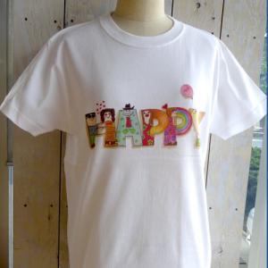 プリントTシャツ HAPPY モンゴベス ホワイト 半袖Tシャツ レディース ロゴ MONGOBESS|mongobesswith