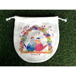 巾着(大) ぼうしのインコ モンゴベス 日本製 弁当袋 巾着袋 巾着バッグ ポーチ 通園 通学 MONGOBESS|mongobesswith