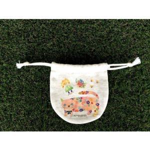 まるころ巾着(小) モンゴにゃんこ モンゴベス 日本製 巾着袋 アクセサリー袋 小物入れ ミニポーチ ネコ 猫柄 MONGOBESS|mongobesswith