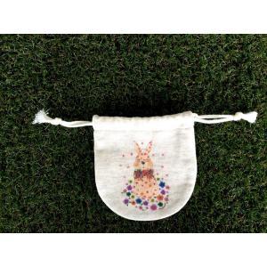 まるころ巾着(小) ブーケうさぎ モンゴベス 日本製 巾着袋 アクセサリー袋 小物入れ ミニポーチ うさぎ 動物柄 プチプレゼント お返し MONGOBESS|mongobesswith