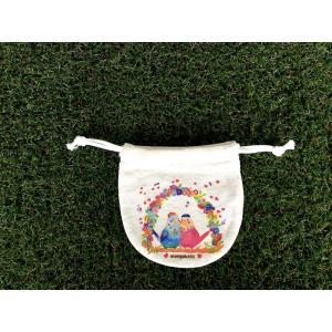 まるころ巾着(小) ぼうしのインコ モンゴベス 日本製 巾着袋 アクセサリー袋 小物入れ 鳥 インコ 母の日 プチプレゼント MONGOBESS|mongobesswith