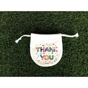 まるころ巾着(小) THANK YOU モンゴベス 日本製 巾着袋 アクセサリー袋 小物入れ ミニポーチ ロゴ プチプレゼント バレンタイデー ホワイトデー  MONGOBESS|mongobesswith