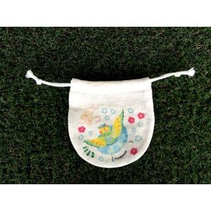 まるころ巾着(小) インコリーナ モンゴベス 日本製 巾着袋 アクセサリー袋 小物入れ 鳥 インコ 送別品 プチギフト MONGOBESS|mongobesswith