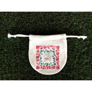まるころ巾着(小) お花のネコ モンゴベス 日本製 巾着袋 アクセサリー袋 小物入れ ミニポーチ ねこ 猫柄 MONGOBESS|mongobesswith