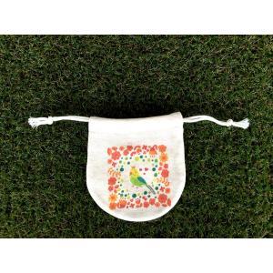 まるっこ巾着(小) お花のインコ モンゴベス 日本製 巾着袋 アクセサリー袋 小物入れ 鳥 インコ MONGOBESS|mongobesswith