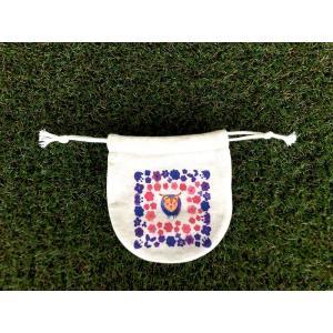 まるころ巾着(小) お花のフクロウ モンゴベス 日本製 巾着袋 アクセサリー袋 小物入れ 鳥 ふくろう プチギフト MONGOBESS|mongobesswith