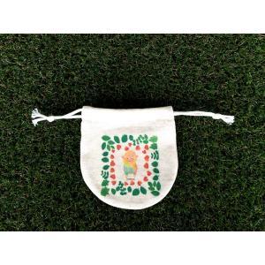 まるころ巾着(小) お花のベビーアルパカ モンゴベス 日本製 巾着袋 アクセサリー袋 小物入れ ミニポーチ アルパカ 送別品 プチギフト MONGOBESS|mongobesswith