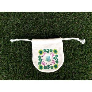 まるころ巾着(小) お花のぞう モンゴベス 日本製 巾着袋 アクセサリー袋 小物入れ ミニポーチ 象 動物柄 MONGOBESS|mongobesswith