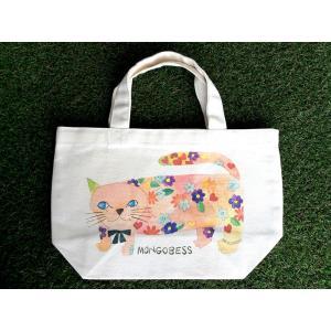 ランチトートバッグ モンゴにゃんこ モンゴベス レディースバッグ キャンバス ミニトートバッグ ネコ 猫柄 MONGOBESS|mongobesswith