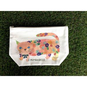マチありポーチ モンゴにゃんこ モンゴベス 日本製 メイクポーチ 台形型ポーチ 小物入れ おむつ入れ レディース キャンバス 帆布 猫 ネコ柄 MONGOBESS|mongobesswith