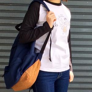 HAPPY OJISAN おじさん柄  ラメプリント ブラック ラグランTシャツ 長袖 プリントTシャツ レディース モンゴベス MONGOBESS|mongobesswith