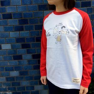 HAPPY OJISAN おじさん柄 ラメプリント レッド ラグランTシャツ 長袖 プリントTシャツ レディース モンゴベス MONGOBESS|mongobesswith