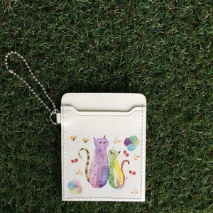 パスケース 花ネコ モンゴベス 定期入れ ICカード入れ 通勤 通学 レザーカードケース ストラップ付き レディース 猫柄 ネコ MONGOBESS|mongobesswith