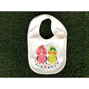 オーガニックコットン ピヨコ2 モンゴベス スタイ赤ちゃん用よだれかけ bib 動物柄 鳥 出産祝い お誕生日 プレゼント ラッピング無料 MONGOBESS|mongobesswith