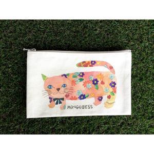 ペンケース モンゴにゃんこ モンゴベス 日本製 ポーチ 新学期 入学  化粧ポーチ 小物入れ カード入れ キャンバス 帆布 猫 MONGOBESS|mongobesswith