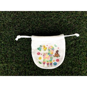 ころっと巾着(小) アルパカとラヴ鳥 モンゴベス 日本製 巾着袋 アクセサリー袋 小物入れ ミニポーチ アルパカ 送別品 プチギフト MONGOBESS|mongobesswith
