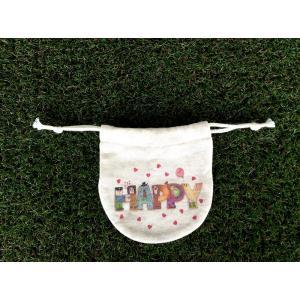 まるころ巾着(小) HAPPY モンゴベス 日本製 巾着袋 アクセサリー袋 小物入れ ミニポーチ ロゴ バレンタイデー ホワイトデー MONGOBESS|mongobesswith