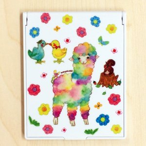 卓上ミラー アルパカとラブ鳥 モンゴベス 鏡 コンパクトミラー 折りたたみミラー メイク 化粧小物 動物柄 MONGOBESS|mongobesswith
