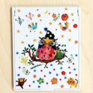 卓上ミラー フクロウの森 モンゴベス 鏡 コンパクトミラー 折りたたみミラー メイク 化粧小物 動物柄 MONGOBESS mongobesswith