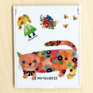 卓上ミラー モンゴにゃんこ モンゴベス 鏡 コンパクトミラー 折りたたみミラー メイク 化粧小物 動物柄 MONGOBESS|mongobesswith