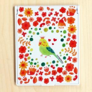 卓上ミラー お花のインコ モンゴベス 鏡 コンパクトミラー 折りたたみミラー メイク 化粧小物 動物柄 MONGOBESS|mongobesswith