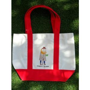 HAPPY OJISAN おじさんプリント トートバッグ レッド ママバッグ レディース 通勤 通学 鞄 A4 モンゴベス MONGOBESS|mongobesswith