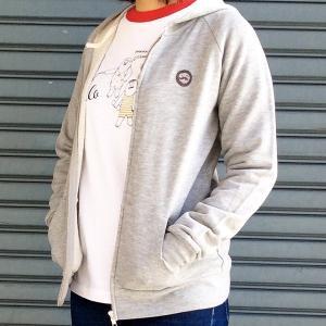 HAPPY OJISAN おじさん 湯上りトランクスおじさん プリント ジップパーカー レディース パーカー フード スウェット  ラグラン モンゴベス MONGOBESS|mongobesswith